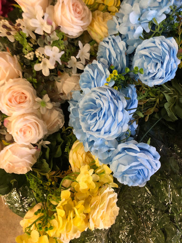 Light blue ROSE BUNCH With fillers