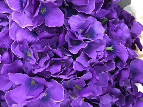 Artificial Flower Purple Hydrangea Bunch 7 head silk - Richview Glass Wedding Supplies