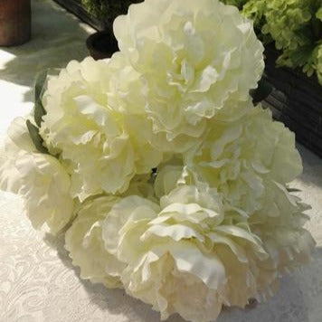 7 HEAD FABRIC ARTIFICIAL PEONIES PEONY BUNCH (CREAM) 7H2 - Richview Glass Wedding Supplies