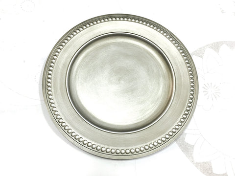 "13"" Vintage Beaded Charger Plate (Silver) BEA5 - Richview Glass Wedding Supplies"