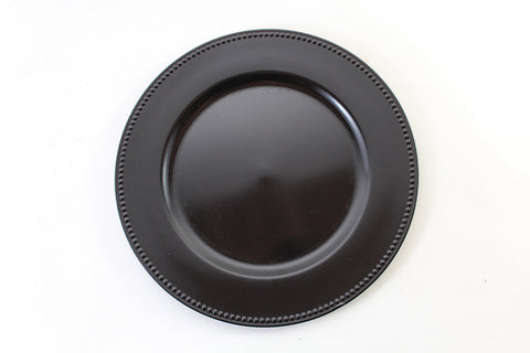 "13"" Vintage Beaded Charger Plate (Black) BEA6 - Richview Glass Wedding Supplies"