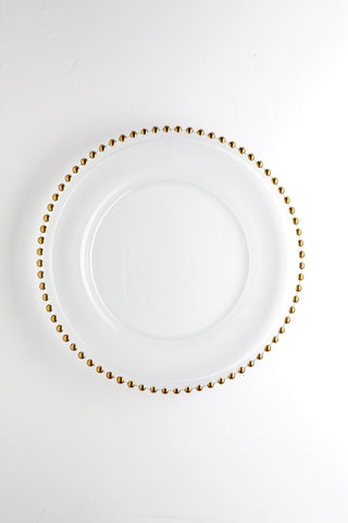 "12.5"" Clear Glass w/bead Charge Plate (Gold Bead) - BEA3 - Richview Glass Wedding Supplies"