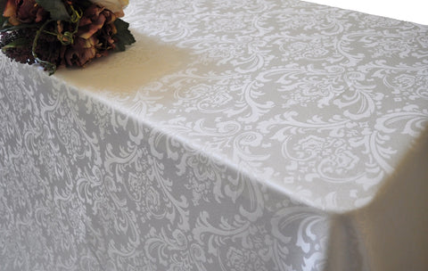 "Damask Table cloth round 120"" various colours and prints - Richview Glass Wedding Supplies"
