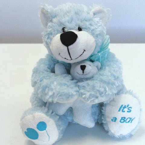 "8"" Blue Hug Bear 34021BL - Richview Glass Wedding Supplies"
