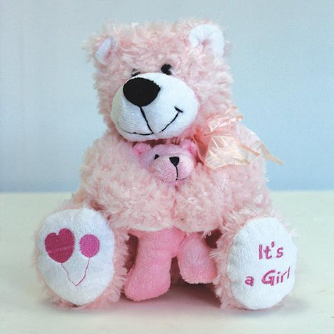 "8"" Pink Hug Bear 34021P - Richview Glass Wedding Supplies"