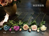 Artificial Flower Single Stem Fall Rose bouquet material (Cream (rightmost)) -STE10 - Richview Glass Wedding Supplies