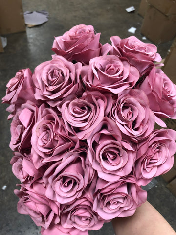 18 HEAD New dark dusty pink ROSE BUNCH artificial flower - Richview Glass Wedding Supplies