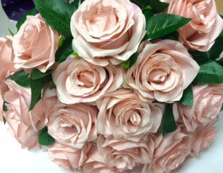 Artificial Flower Rose Bunch with leaf 18 head (Dusty Pink) FLO2-1 - Richview Glass Wedding Supplies