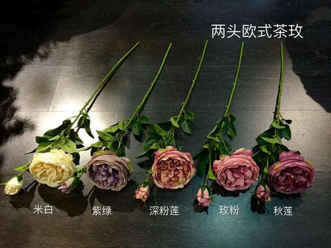 Artificial Flower Single Stem European Cabbage Rose bouquet material - Richview Glass Wedding Supplies