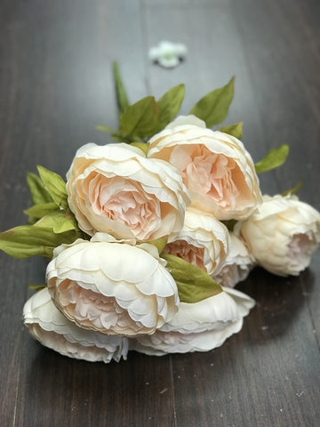 9 HEAD FABRIC ARTIFICIAL PEONIES BUNCH WITH LEAF PEONY - Richview Glass Wedding Supplies