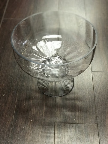 Glass Bowl Vase With Optical Lines 10w X 9h Wedding Centerpiece