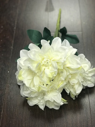 Artificial Silk artificial  Dahlia (ivory) -DAH2 - Richview Glass Wedding Supplies