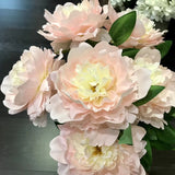 New 7 HEAD (BLUSH) FABRIC ARTIFICIAL PEONIES PEONY BUNCH