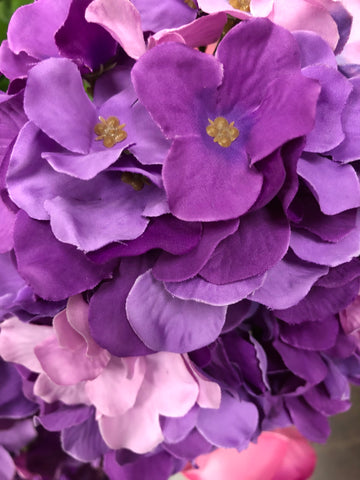 Artificial Flower Mixed purple Hydrangea Bunch 7 head silk - Richview Glass Wedding Supplies
