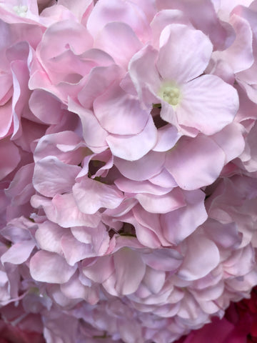 Artificial Flower Light Pink Hydrangea Bunch 7 head silk - Richview Glass Wedding Supplies