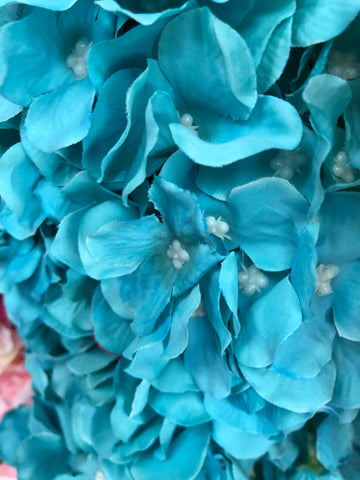 Artificial Flower Turquoise Hydrangea Bunch 7 head silk - Richview Glass Wedding Supplies