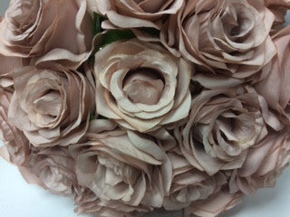 Artificial Flower Rose Bunch with leaf 18 head (Mauve) - Richview Glass Wedding Supplies