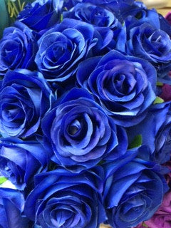 Artificial Flower Rose Bunch with leaf 18 head (Royal Blue) - Richview Glass Wedding Supplies