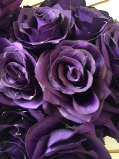 Artificial Flower Rose Bunch with leaf 18 head (Dark Purple) - Richview Glass Wedding Supplies