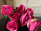 NEW! Artificial Rose Bunch with leaf 9 head (Hot Pink)