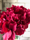 6 Head Burgundy Hydrangea Bunch Artificial flower - Richview Glass Wedding Supplies