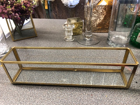 "Geometric 12""x2.5""x3""h vase Planter Glass Candleholder vase (Gold) Long & low"