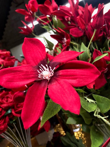 Artificial Flower Single Stem Red Clematis - Richview Glass Wedding Supplies