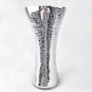 "Crackled Silver New Small Bud vase 11.9""Hx5.7"" - Viva La Rosa"
