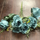 11 HEAD Dusty Blue RUSTIC ROSE BUNCH WITH CURLY END (WITH BERRIES) - Richview Glass Wedding Supplies