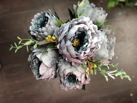 Jumbo Closed 11 Head Peony Bunch (Dusty blue)-JUM1-5 - Richview Glass Wedding Supplies