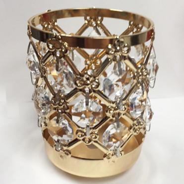 "GOLD/SILVER 3.75""H CRYSTAL BEADED CANDLE HOLDER DECOR CANDLEHOLDER (gold) GOL1-6 - Richview Glass Wedding Supplies"