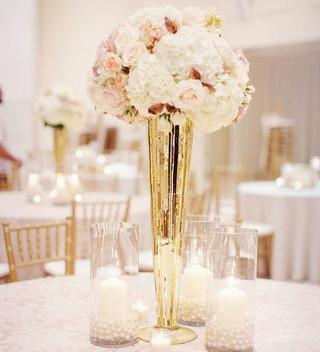 mercury gold vase centerpiece