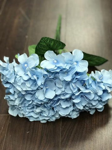 Artificial Flower Light Blue  Hydrangea Bunch 7 head silk - Richview Glass Wedding Supplies