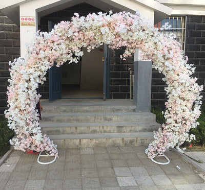 Pink cherry blossom Flower Metal Backdrop Stand Round Arch 2.5mx2.2m REV1