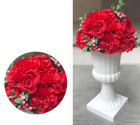 Artificial Flower Rose Hydrangea Arrangement Red - Richview Glass Wedding Supplies