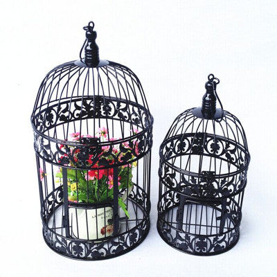 "Bird Cage Metal black 10""Hx17.75""D Decor- BDG5 - Richview Glass Wedding Supplies"