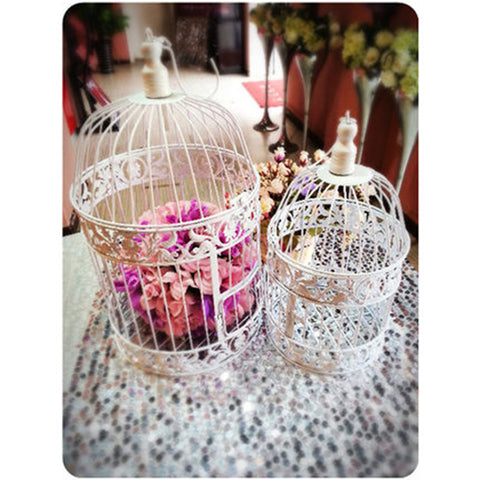 "Bird Cage Metal white 13.75""Hx7.5""D Decor- BDG9 - Richview Glass Wedding Supplies"