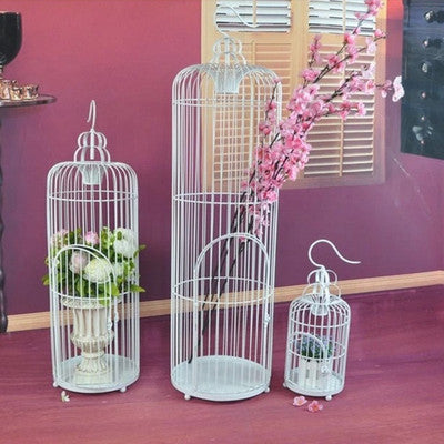 "Bird Cage Metal White 48""Hx12""D Decor- BDG3 - Richview Glass Wedding Supplies"