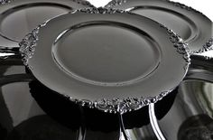 Black Charger Plate Acrylic Classic Flower stud pattern Vintage