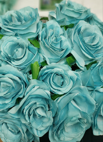 Artificial Flower Rose Bunch with leaf 18 head turquoise - Richview Glass Wedding Supplies