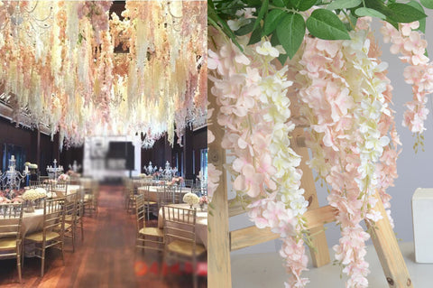 ARTIFICIAL FLOWER HANGING FLOWER LONG GARLAND WISTERIA  (blush) ART1-12 - Richview Glass Wedding Supplies