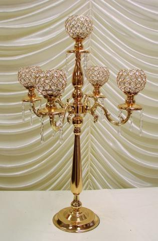CRYSTAL CANDELABRA 5 HEAD (gold)-CRY1-1 - Richview Glass Wedding Supplies