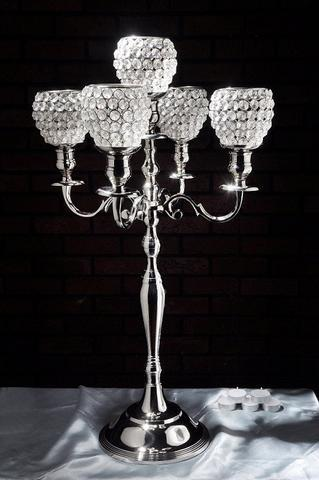 CRYSTAL CANDELABRA 5 HEAD (silver)-CRY1-2 - Richview Glass Wedding Supplies