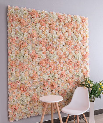 Backdrop Panel Roses Hydrangea Mat champagne Artificial Flower Wall - Richview Glass Wedding Supplies