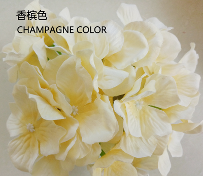 CHAMPAGNE HYDEANGEA FLOWER ARTIFICIAL FLOWER HEAD WEDDING DECOR - Richview Glass Wedding Supplies