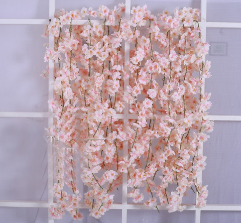 Artificial Flower Cherry Blossom Blush Hanging Flower long garland decor - Richview Glass Wedding Supplies