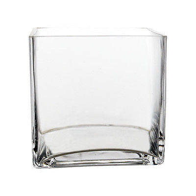 "5"" Cube Vase Clear Glass wedding centerpiece - Richview Glass Wedding Supplies"