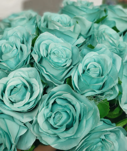 Artificial Flower Rose Bunch with leaf 18 head (Teal) - Richview Glass Wedding Supplies