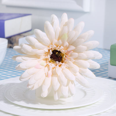 Ivory Gerbera Daisy FLOWER ARTIFICIAL FLOWER WEDDING DECOR - Richview Glass Wedding Supplies