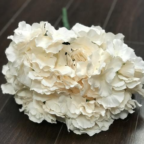 Artificial Flower Blush Hydrangea Bunch 6 head silk - Richview Glass Wedding Supplies